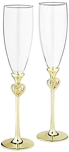 Jeweled 50th Anniversary Champagne Flutes, Set of 2