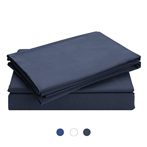HOMFY 100% Washed Cotton Duvet Set, Duvet Cover Bedding Set with Pillowcases, Hypoallergenic and Ultra Soft, Natural Wrinkled Look, Dark Grey, Double(200x200cm)