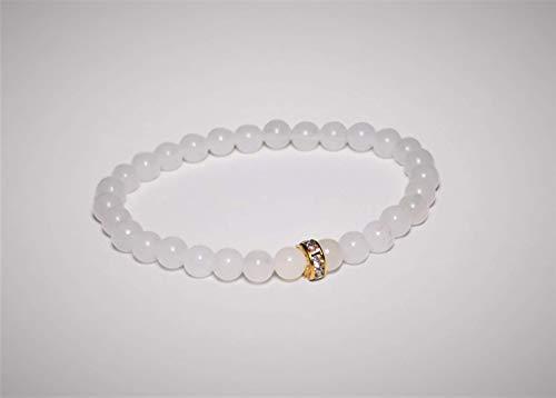 Lollia Damen Armband, Jade mit Strassrondell, weiß,19 cm