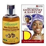 Fountain Real Black Black Jamaican Castor Oil 4 Ounces With Satin Bonnet