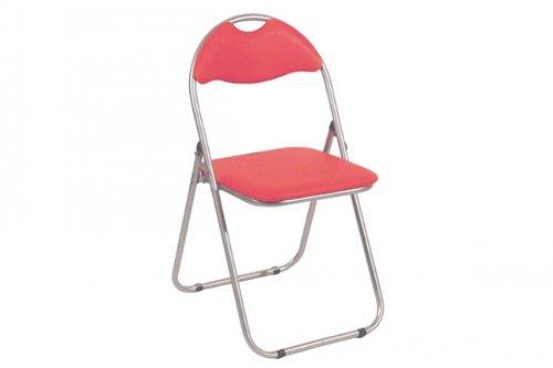 6 Stück Klappstuhl aus alufarbigem Stahlrohr mit rotem PVC Bezug, Breite 44cm x Tiefe 47cm x Höhe 8