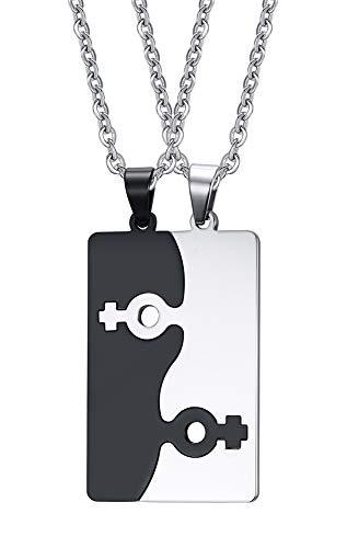 VNOX Personalisierte Gravur Anpassen 2Stücke Paar Edelstahl Weibliches Symbol Puzzle Paar Halskette Anhänger für Bester Freund Homosexuell&Lesbisch Stolz,Freie Kette 50cm