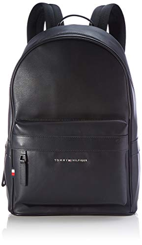 Tommy Hilfiger Elevated PU Backpack, Bolsas. para Hombre, Negro, One Size