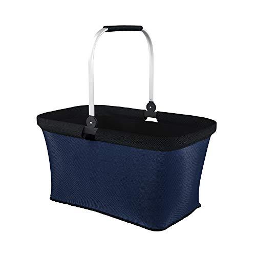LOMOS Faltbarer Einkaufskorb mit komfortablem Henkel, Größe L, in blau