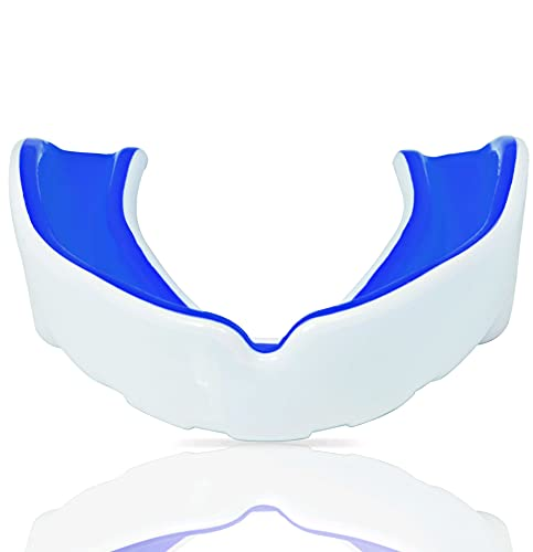 Mouth Guard Gum Shield – Professional Mouth Guard for Contact Sports, Rugby, Martial Arts, Karate, Rugby, MMA, Boxing, Hockey, Football Flexible for Youth & Adult (White Blue, Senior)