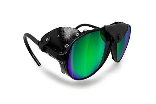 Bertoni Occhiali da Sole Polarizzati da Montagna Ghiacciaio Escursionismo Trekking Arrampicata Sci – MOD. Alps Italy (Nero - Polarizzato Verde Specchio)
