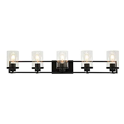 MELUCEE 5-Light Bathroom Vanity Light Fixtures Black Wall Sconce with Clear Glass Shade, Modern Wall Light Fixtures for Vanity Table Bedroom Dressing Table Mirror Cabinets