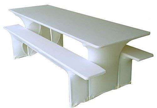 Gastro Uzal Biertischussen, Festzeltgarnitur Hussen Stretch Set weiß 70x220 cm, Biertischhussen Stretch, Bierzeltgarnitur Hussen