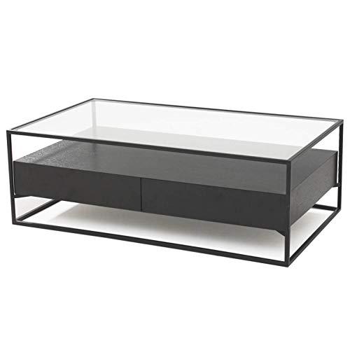 Damiware Baily Design Mesa auxiliar/mesa de centro/mesa de salón/mesa de sofá de metal (negro) y cristal con cajón de madera, mesa de café industrial en 120 x 70 x 40 cm (rectangular) | (negro)