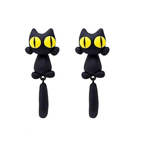 Negro Gato Mujeres Pendientes Pendientes de joyería Pendiente de gato Cumpleaños Fiesta con joyero