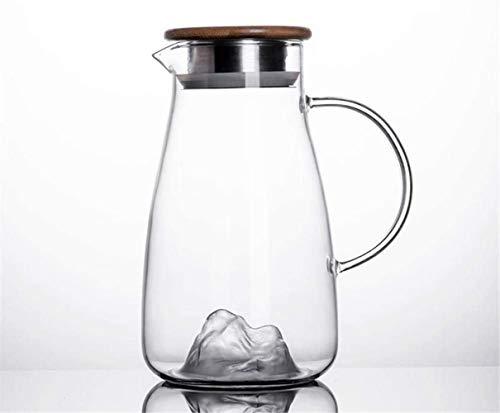 Tetera Tetera de 1,5 l / litro jarra de vidrio del jarro con tapa - 100% sin BPA, jugo de contenedores Pot hervidor de agua con tapa de vidrio Jarra de limonada / Bebida fría / hielo Dispensador de ag