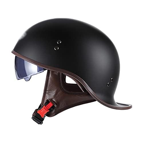 Retro Motorrad Halbhelme Brain-Cap · Halbschale Jet-Helm Scooter-Helm Mofa-Helm Retro Motorrad Half Helm Mit Built-In Visier FüR Cruiser Chopper Biker ECE-Zertifizierung M-XL