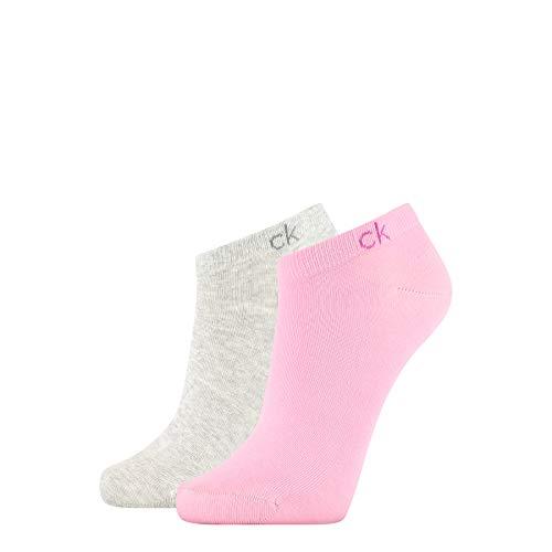 Calvin Klein Socks Womens Liner 2p Flat Knit payal Socks, Light pink Grey Combo, ONE Size