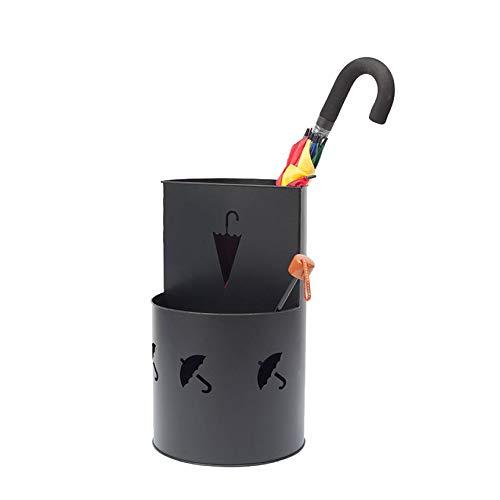 XIAZI Regenschirm-Rack-Ständer Metallhalter Regenschirm mit Abflussfach,Black