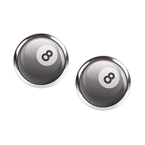 Mylery Ohrstecker Paar mit Motiv 8-Ball Eight-Ball Pool-Billard Kugel Schwarz Weiß silber 12mm