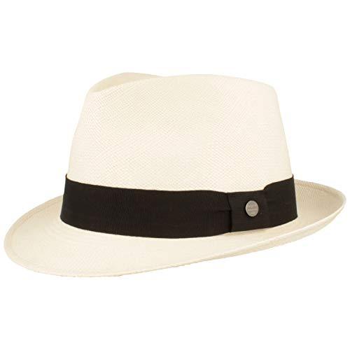 ORIGINAL Panama-Hut aus Ecuador – Schmaler Trilby - Handgeflochten, UV-Schutz, Bruchschutz - Weiß - L
