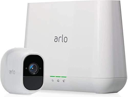 Arlo Pro2 Überwachungskamera & Alarmanlage, 1080p HD, 1er Set, kabellos, Innen / Aussen, Bewegungsmelder, Nachtsicht, 130 Grad Blickwinkel, Smart Home,WLAN, 2-Wege Audio, wetterfest, VMS4130P, Weiß