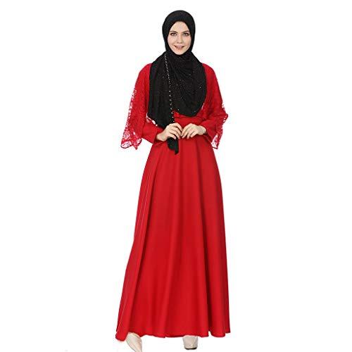 AIni Damen Muslimische Kleider, Elegante Abendkleid Hochzeit Abaya Festlich Partykleid Muslimische...
