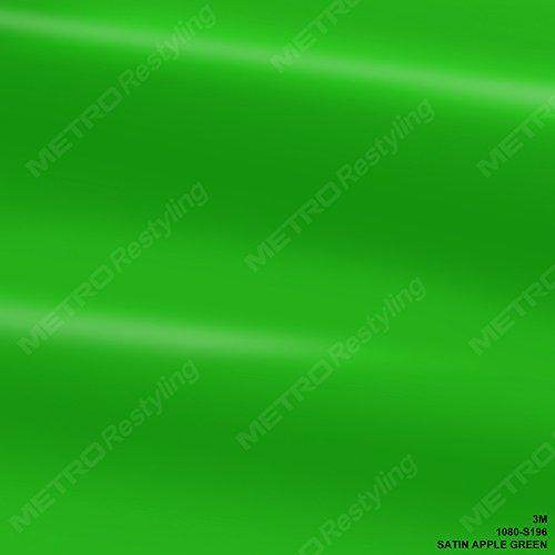 3M 1080 S196 Satin Apple Green 3in x 5in (Sample Size) Car Wrap Vinyl Film