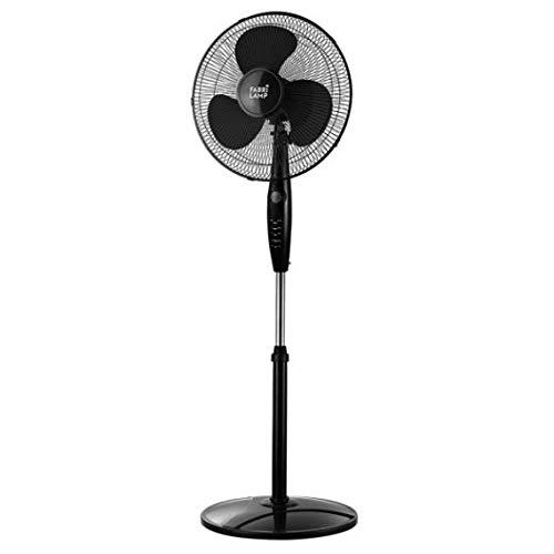 Ventilador De Pie INVERNA Negro 40w 3 Velocidades y mando a distancia, cabezal oscilante Fabrilamp