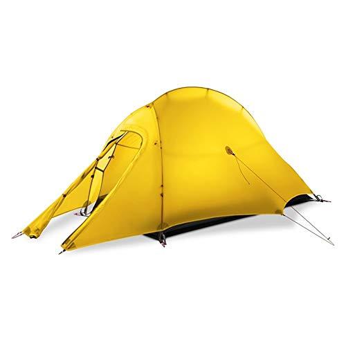 YANGYUAN Tienda de campaña individual de tres temporadas, ultraligera, resistente al agua y al viento, fácil de instalar (tres temporadas: primavera, verano y otoño) (color amarillo)