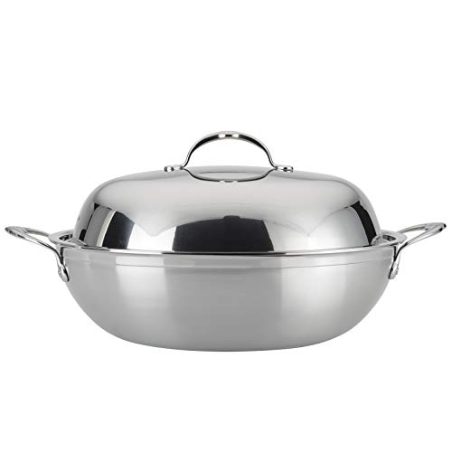 Hestan ProBond Collection Soup Pot- 100% Triple Bonded Nonstick Stainless Steel, Ideal for Simmering Soups, Cooking Grains & Vegetables, 14 Inches Wok, Stainless Steel, 14 inch wok