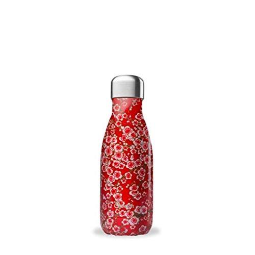 QWETCH - Bouteille Isotherme INOX 260ml - Maintient Vos Boissons au Chaud Pendant 12 Heures & au Frais Pendant 24 Heures – BPA Free - Flowers Rouge