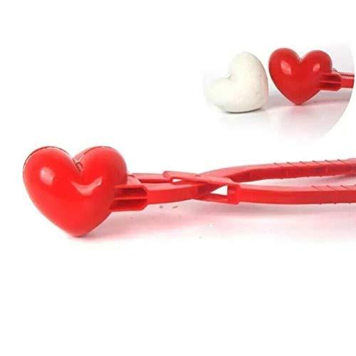 TiKiNi Schneeball Hersteller, Herzform Schneeball Clip Spielzeug Kreative Kunststoff Liebe Herz Schneeball Maker Clip Schnee Ziegel Maker Sandform für Schneeball Kämpfe Winter im Freien