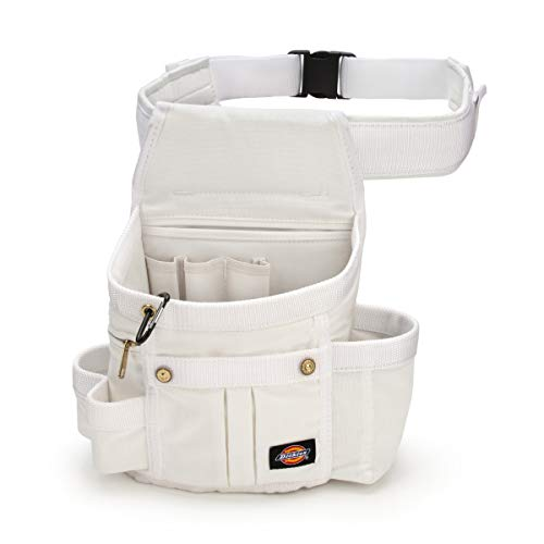 Dickies 8-Pocket Padded Tool Belt/Utility Pouch for Painters, Carpenters, and Builders, Adjustable 3-Inch Belt, Durable Canvas Construction, White