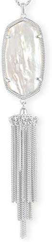 Kendra Scott Rayne Long Pendant Necklace for Women Fashion Jewelry Rhodium Plated Ivory Mother product image