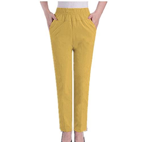 N\P Verano de mediana edad pantalones de las mujeres delgados ancianos ocasionales más tamaño pantalones elásticos