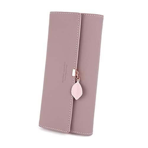 Charltu - Portafoglio da donna lungo, con portacarte, con cerniera, con ciondolo in pelle PU, 10 scomparti per carte di...