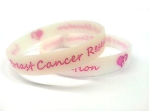 10Glow in the Dark Brustkrebs Forschung und Bildung Unterstützung Armbänder Pink Charity Bewusstsein Armbänder Erwachsene Größe