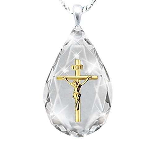 WY-YAN Collares Colgantes Cruzados para Mujeres Hombres Trendy Classic Christian Jesús Collar Joyería Regalo al por Mayor