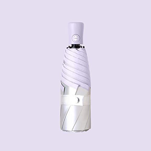 Nuevo paraguas automático de siete huesos y cinco pliegues, pegamento de plata de titanio, protección solar, protección UV, lluvia y sol, parasol plegable de doble propósito, morado claro (pegamen