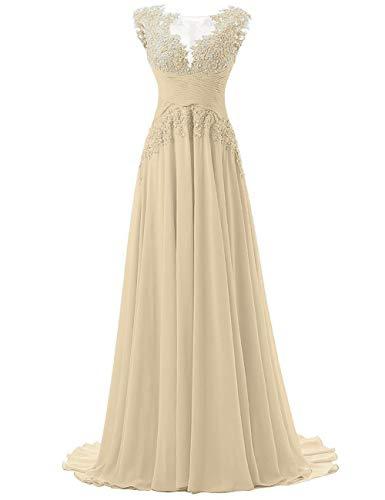 HUINI Abendkleider Lang Chiffon Ballkleider Brautjungfernkleider Spitzen Partykleider Empire Brautmutterkleider Champagne 34