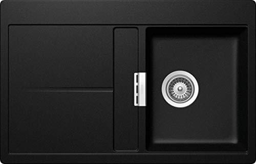 Schock kompakte Küchenspüle 78 x 50 cm Horizont D-100 Magma - CRISTADUR schwarze Granitspüle mit Abtropffläche ab 40 cm Unterschrank-Breite