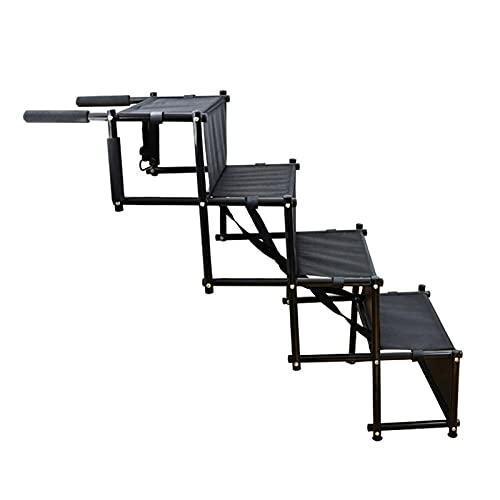 CXJC Rampa plegable de metal para escaleras, ligera, portátil con diseño de tira antideslizante, para uso en interiores y exteriores