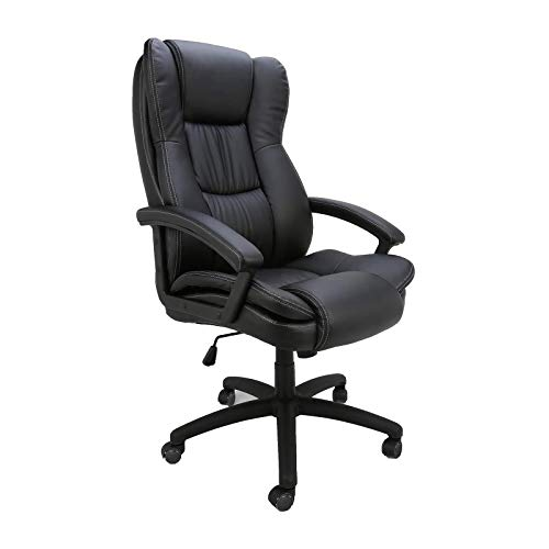 HOMEFUN Ergonomic Executive Office Chair, Black High Back Comfortable Adjustable Leather Home Desk Chair Big and Tall Computer Task Chair with Lumbar Support