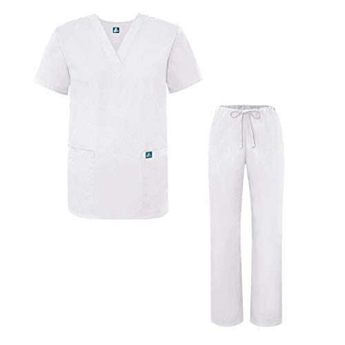 Adar Universal Unisex Medical Uniform - Unisex Drawstring Scrub Set - 701 - White - 2X