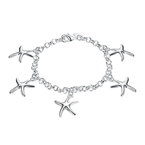 Braccialetti per ragazze amanti dell'argento sterlina 925 Bracciali e braccialetti di alta qualità Gioielli da donna Braccialetti regalo con cinque stelle marine Gioielli