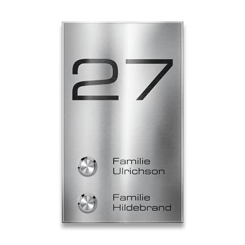 Metzler Mehrfamilien Funkklingel aus Edelstahl - 2-fach Kabellose Türklingel mit individueller Gravur - Hohe Reichweite - Aufputz-Montage - Größe: 12 x 20 cm