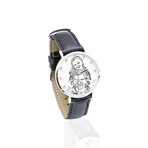 Reloj Personalizado con Foto Reloj con Correa Suave Reloj Personalizado Reloj de Moda Navidad para Hombres(Dama Bosquejo Mujer-24cm)