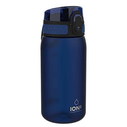 Ion8 Botella Agua Niños Sin Fugas, Sin BPA, Monos, Azul Marino