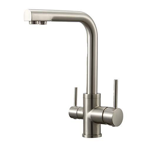 Wasserrhythm 3 Wege Küchenarmatur Küche Armatur Wasserfilter Wasserhahn für Trinkwasser Küchenspüle Doppelgriff Hochdruck 3-In-1 Mischbatterie,hoher Auslauf 360°schwenkbar,Messing Gebürstet Nickel