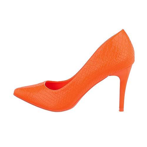 Ital Design Damenschuhe Pumps High Heel Pumps, Q755-, Kunstleder, Orange, Gr. 35