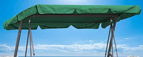 QUICK STAR Ersatzdach 200x145cm Gartenschaukel Universal Hollywoodschaukel 3 Sitzer Grün UV 50 Ersatz Bezug Sonnendach Schaukel Dach