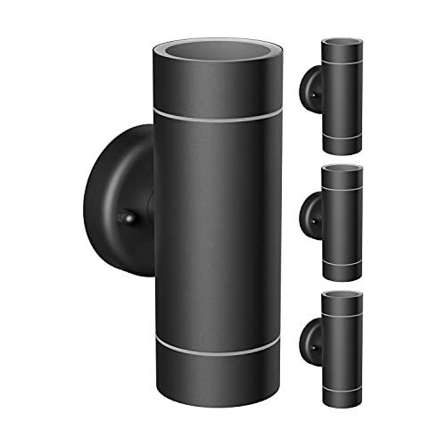ledscom.de Applique d'ext?rieur WEDOIP44, r?sistant aux intemp?ries, noir, acier inoxydable, Up & Downlight + 2 ampoules LED GU10 pour Amazon Alexa, dimmable chacune 380lm blanc chaud, 4pcs.