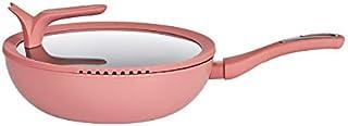 Haufson Wok rosa 30 cm| Funciona con buje de inducción | Sartén antiadherente sin PFOA