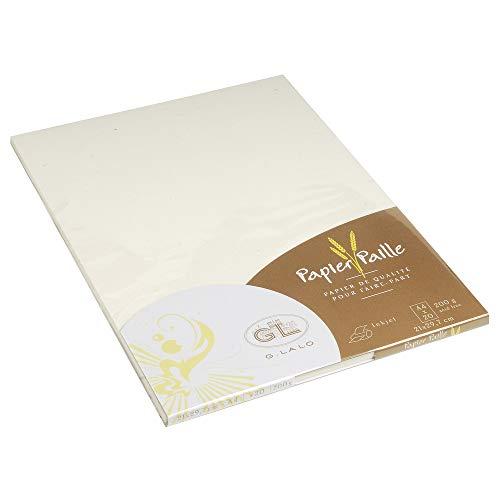 Lalo 41616L - Un paquet de 20 feuilles 21x29,7 cm 200g, papier Paille, Crème